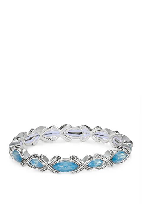 Silver Tone Blue Stone Stretch Bracelet
