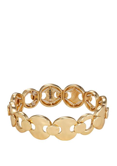 Napier Gold Tone Hammered Stretch Bracelet