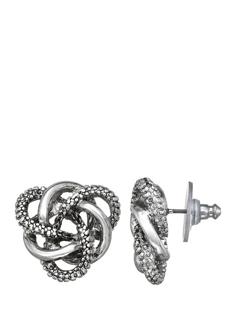 Napier Silver Tone Knotted Button Earrings