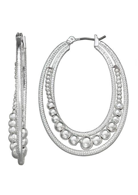 Napier Silver Tone Medium Click Top Hoop Earrings