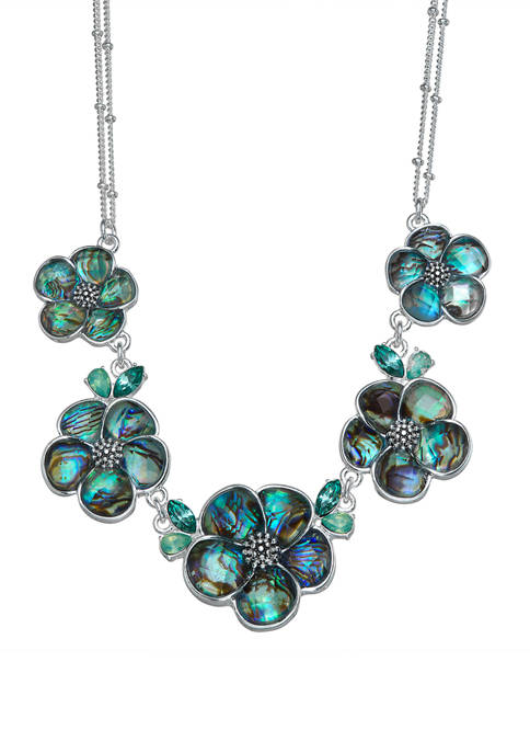 Napier Silver Tone Blue Green Flower Frontal Necklace