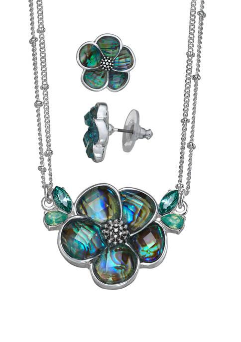 Flower Pendant Earrings Set