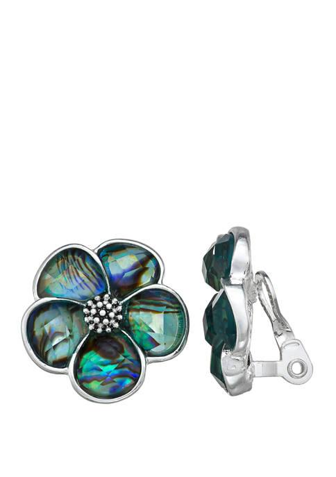 EZ Comfort Clip Flower Button Earrings