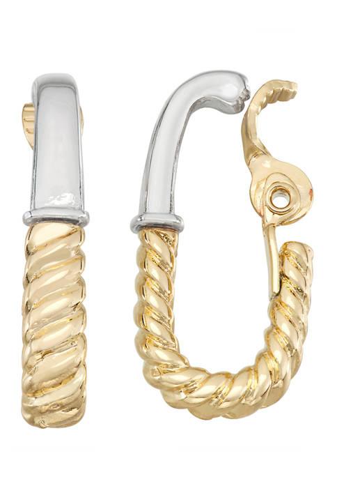 Napier 2 Tone EZ Comfort Clip Hoop Earrings