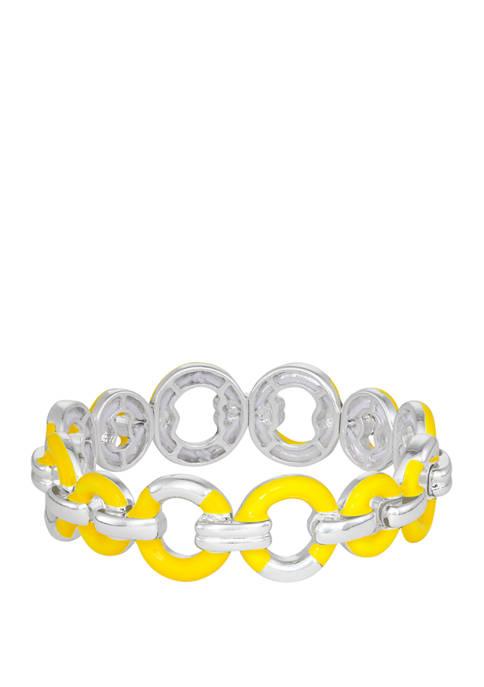 Napier Silver Tone Yellow Link Stretch Bracelet