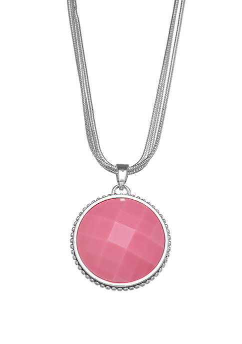 Silver Tone Pink Pendant Necklace