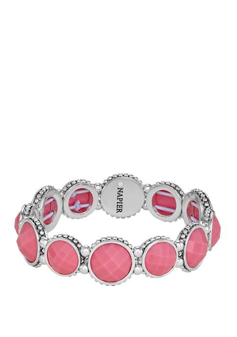 Napier Silver Tone Pink Circle Stretch Bracelet