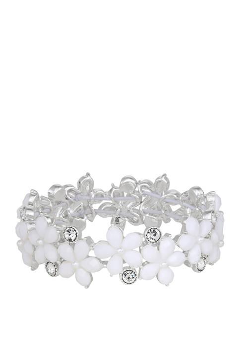 Silver Tone White Flower Stretch Bracelet