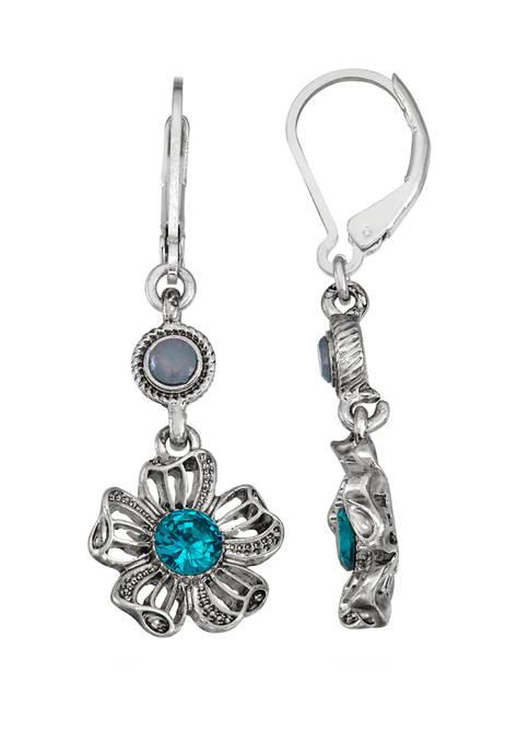 Napier Silver Tone Blue Flower Double Drop Earrings