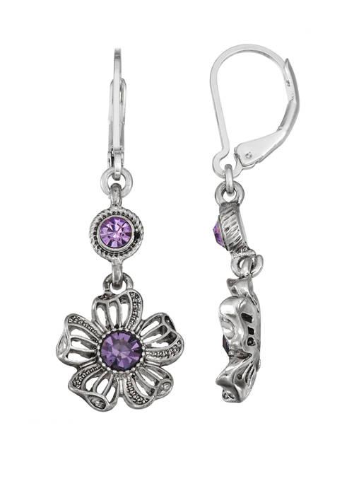 Napier Silver Tone Flower Double Drop Earrings