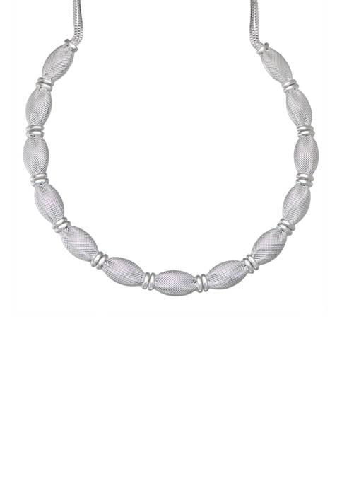 Napier Silver Tone Mesh Collar Necklace
