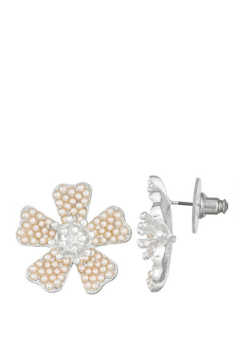 Napier Silver Tone Flower Button Earrings