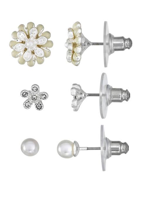 Napier Silver Tone Flower Trio Earrings
