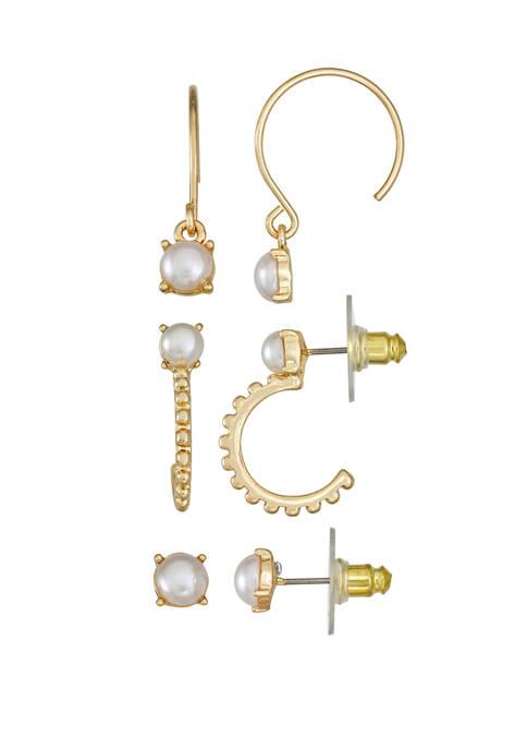 Napier Gold Tone Pearl Hoop Stud Trio Earrings