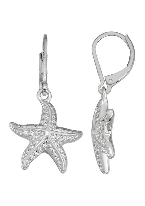 Napier Silver Tone Starfish Drop Earrings