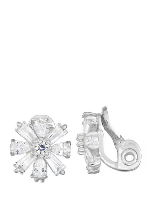 Silver-Tone EZ Comfort Clip Flower Button Earrings