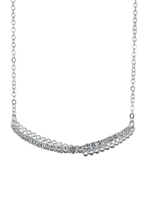 Napier Silver Tone Crystal Stone Bar Frontal Necklace
