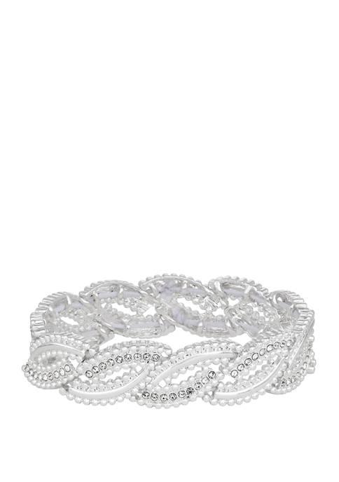 Napier Silver Tone Crystal Stretch Bracelet