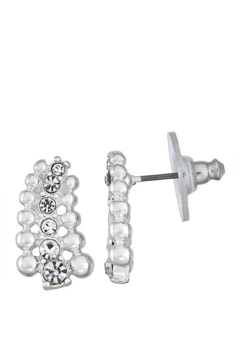 Napier Silver Tone Crystal Stone Button Earrings
