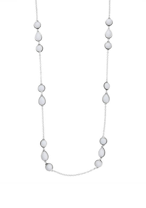 Silver Tone White 3 Inch Stationed Strand Necklace