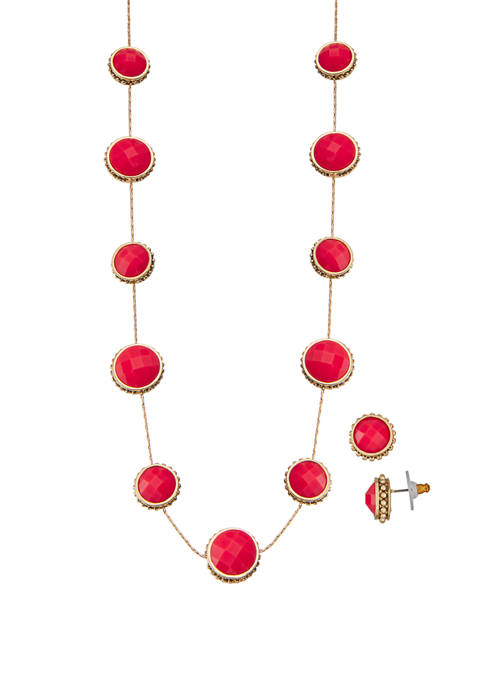 Gold Tone Coral Collar Necklace Earrings Set
