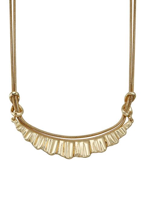 Napier Gold Tone Multi Row Frontal Necklace