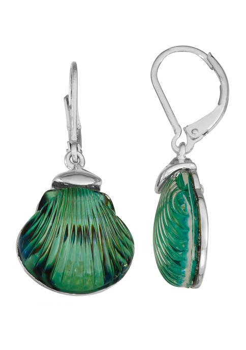 Napier Silver Tone Blue Green Shell Drop Earrings