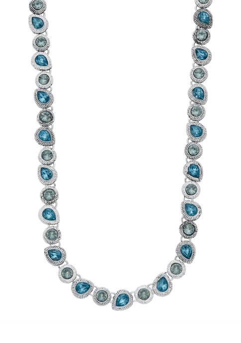 Silver Tone Blue Teardrop Collar Necklace