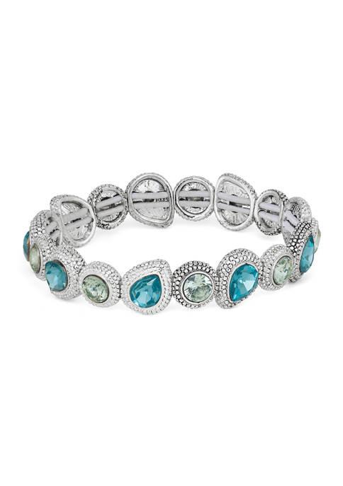 Napier Silver Tone Blue Teardrop Stretch Bracelet