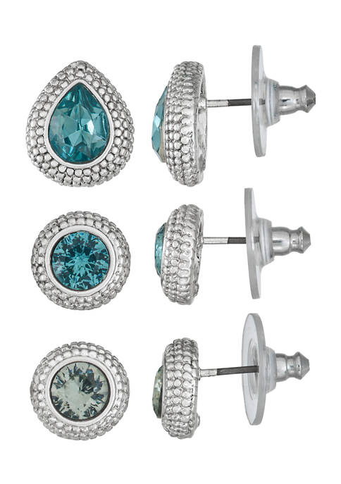 Napier Silver Tone Blue Stud Trio Earrings