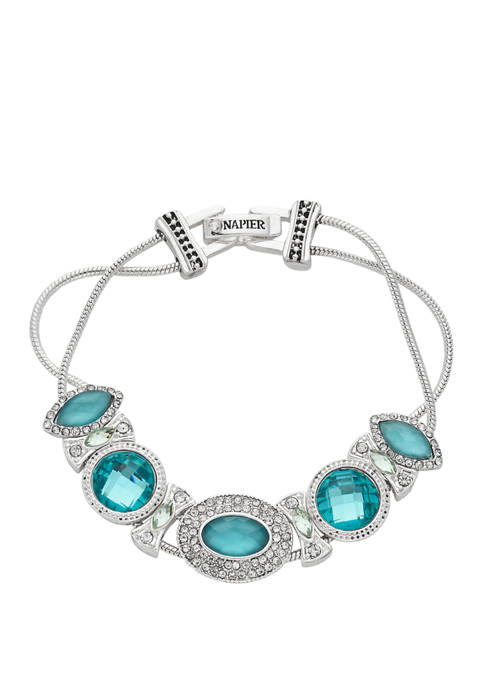 Napier Boxed Silver Tone Blue Stone Slider Bracelet
