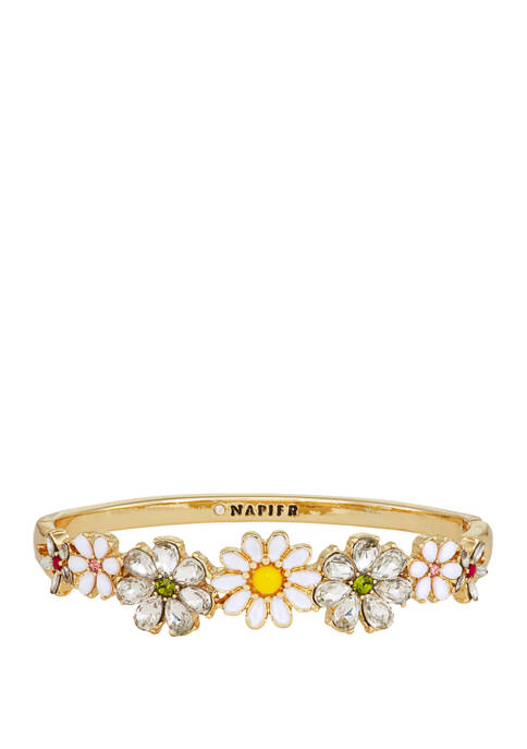 Napier Boxed Gold Tone Multi Flower Hinge Bangle