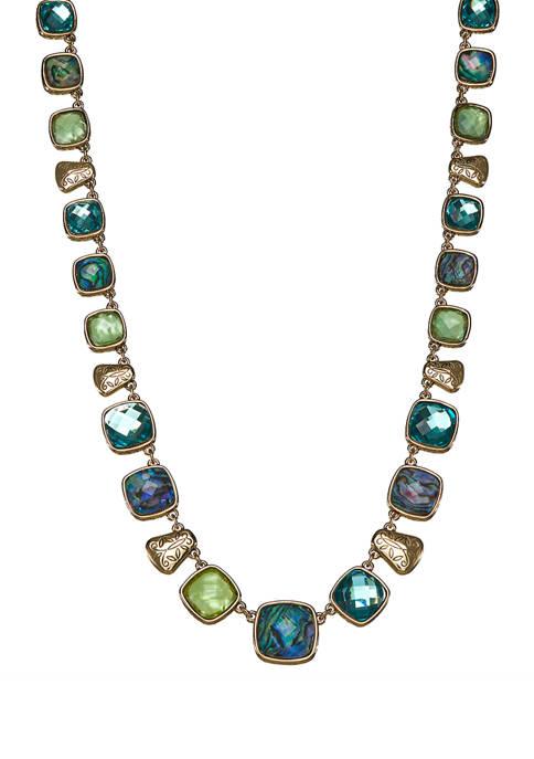 Napier Gold Tone Green Collar Necklace