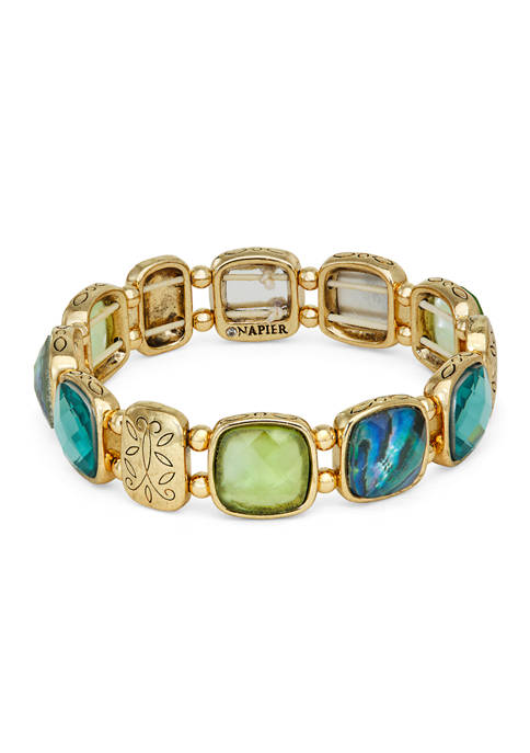 Napier Gold Tone Green Stretch Bracelet
