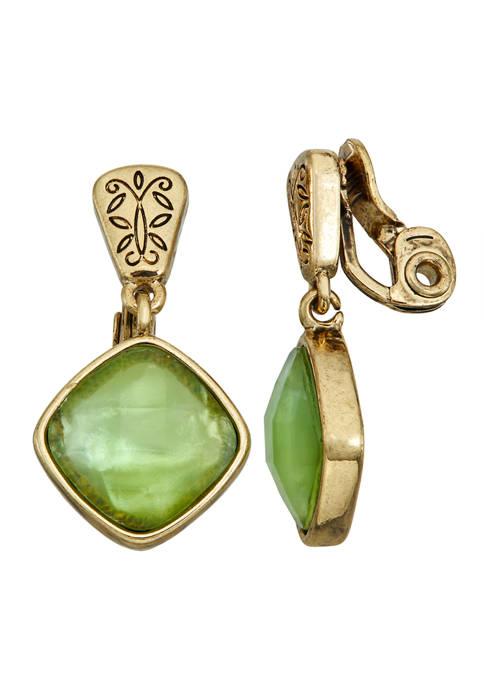 Napier Gold Tone Green EZ Comfort Clip Drop