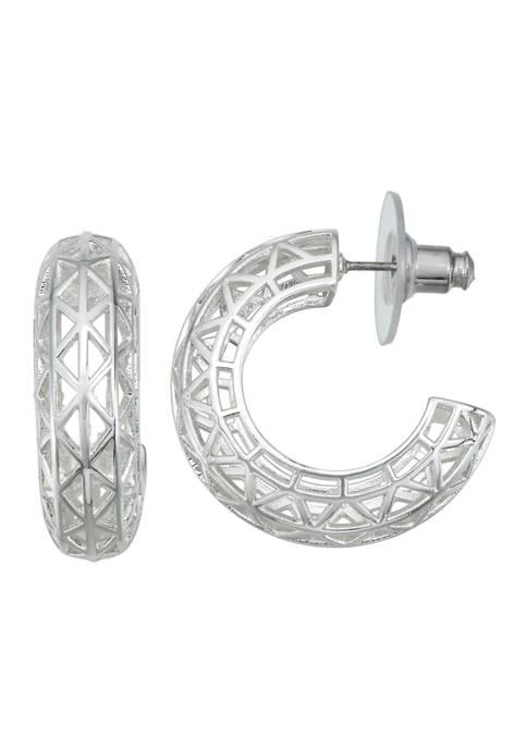 Napier Silver Tone Openwork C Hoop Earrings
