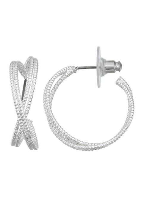 Napier Silver Tone Double C Hoop Earrings