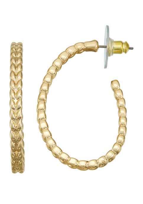 Napier Gold Tone Beaded C Hoop Earrings