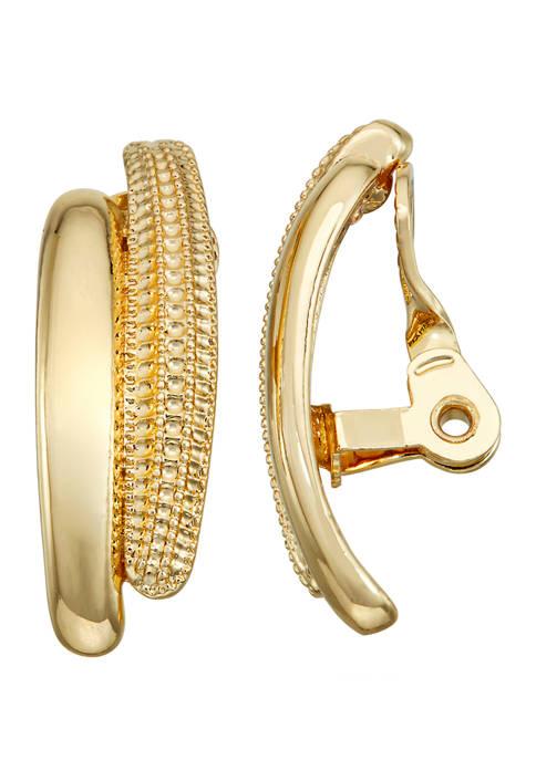 Napier Gold Tone EZ Comfortc Clip Double Hoop