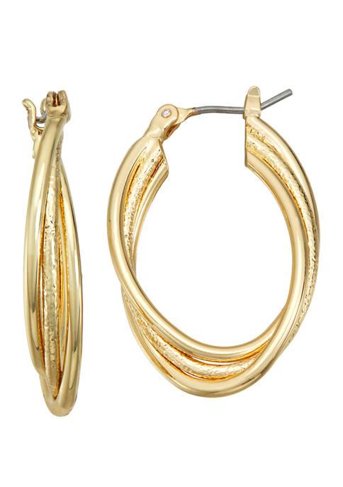 Napier Gold Tone Click Top Hoop Earrings