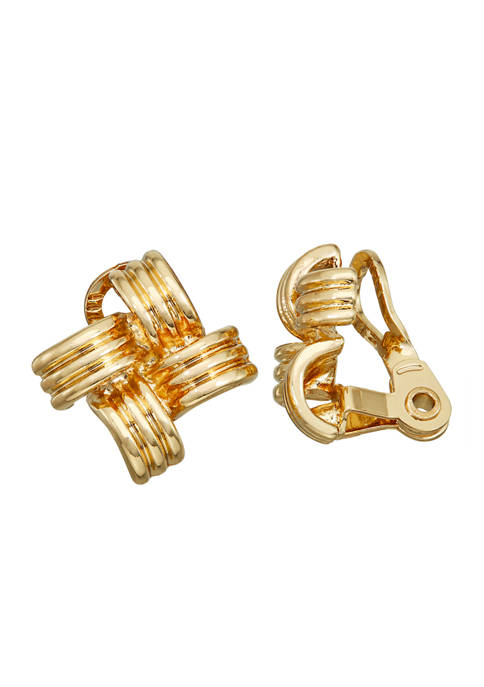 Napier Gold Tone EZ Comfort Clip Patchwork Button