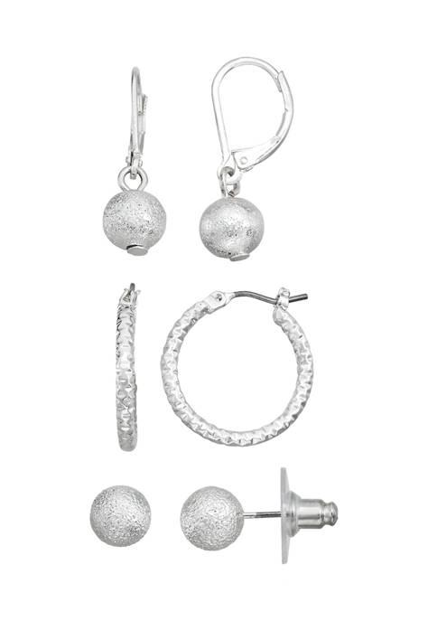 Silver Tone Trio Hoop Stud Earrings