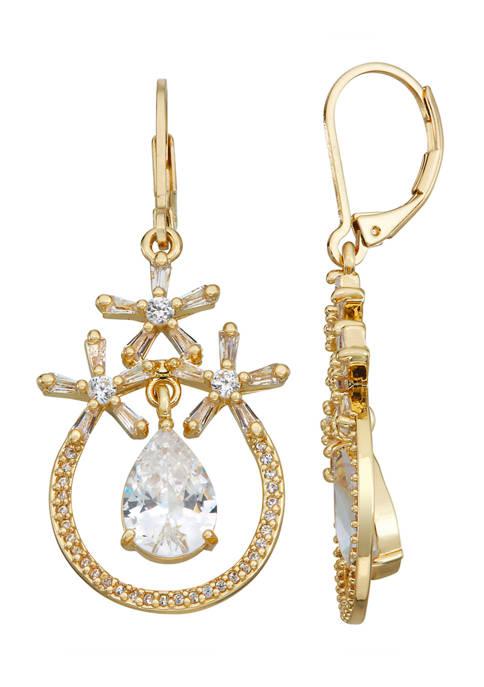 Napier Gold Tone Crystal Cubic Zirconia Drop Lever