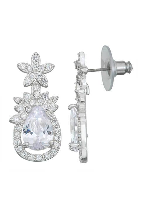 Napier Silver Tone Crystal Cluster Drop Earrings