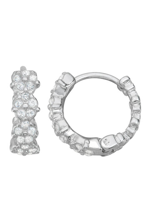 Napier Silver Tone Cubic Zirconia Mall Hoop Earrings