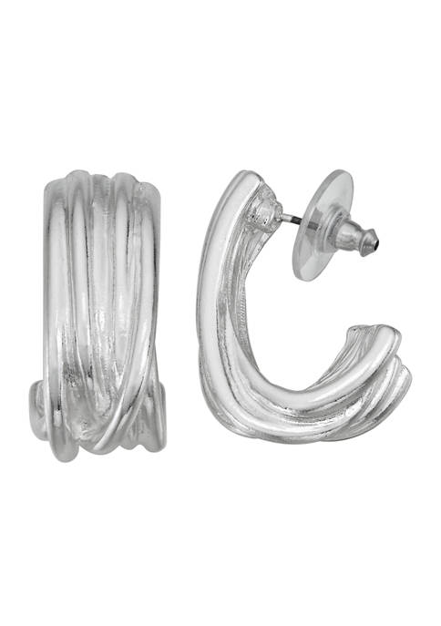 Napier Silver Tone C Hoop Earrings