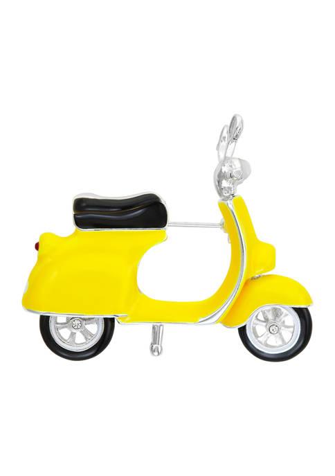Napier Boxed Silver Tone Yellow Moped Pin