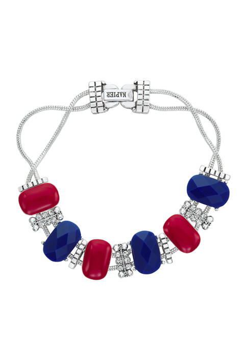 Napier Boxed Silver Tone Red Blue Slider Bracelet