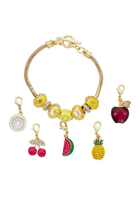 Napier Boxed Gold-Tone Multi Fruit Slider Changeable Bracelet