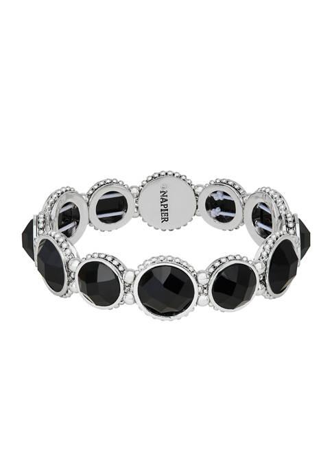 Napier Silver-Tone Jet Circle Stretch Bracelet